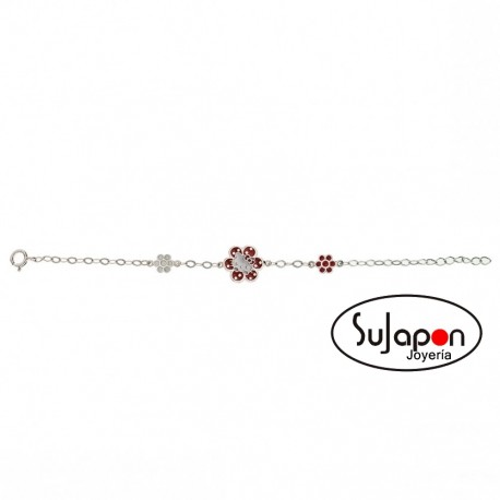 Pulsera Plata Hello Kitty Flower