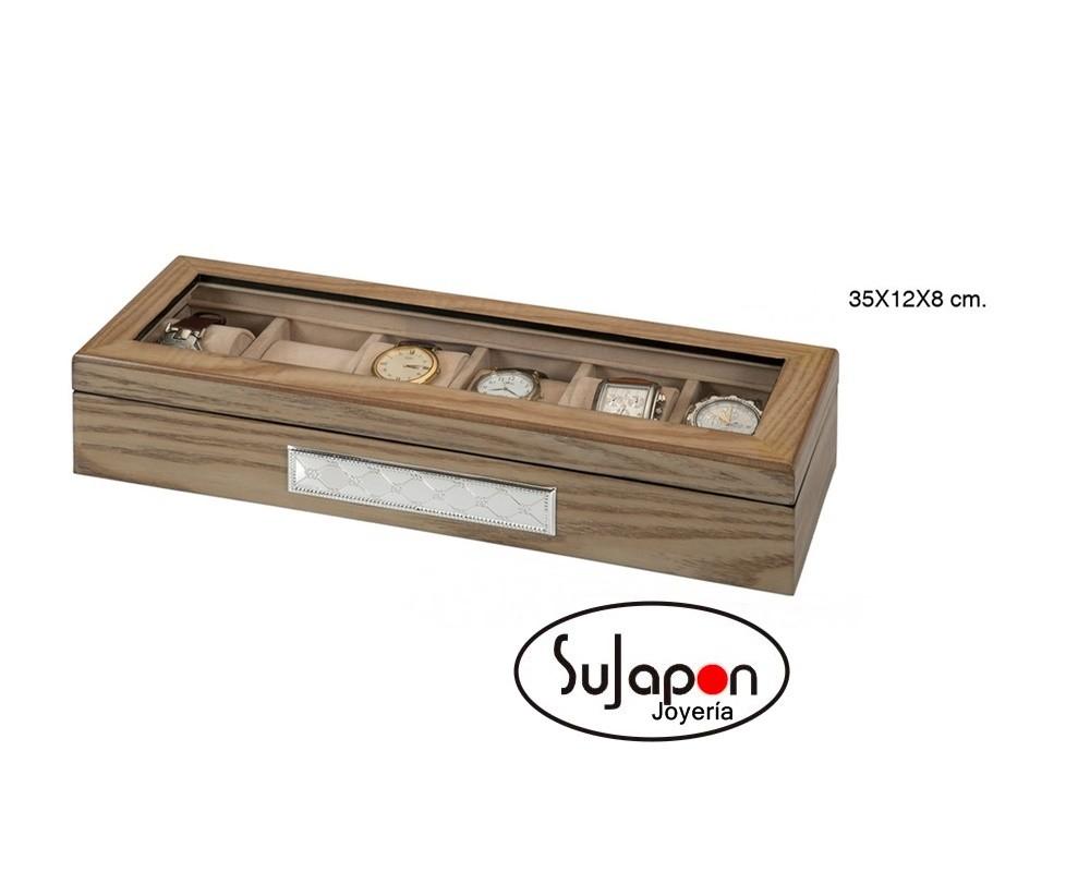 0aaa394d4549 Caja joyero de madera para guardar 6 relojes