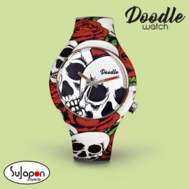Reloj Doodle Roses and Skulls