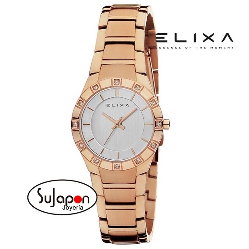 49ef67ed3632 Reloj Elixa para mujer en acero chapado rosa.