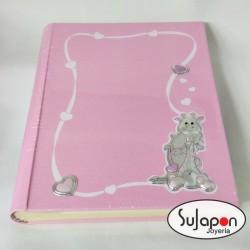 Álbum Infantil rosa con jirafa de plata