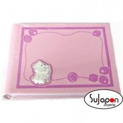 Álbum Infantil rosa con osito con biberón