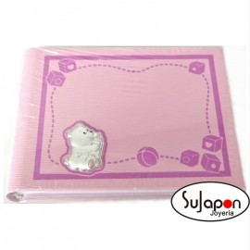 Álbum Infantil rosa de osito con biberón