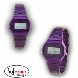 RELOJ SAMI DIGITAL RETRO VIOLETA