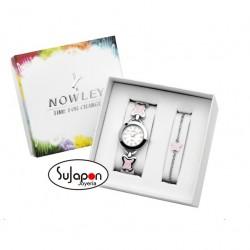 Conjunto de Reloj Nowley para niña y pulsera con mariposas