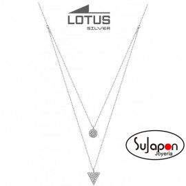 COLLAR LOTUS SILVER DOBLE CON TRIANGULO Y CIRCULO