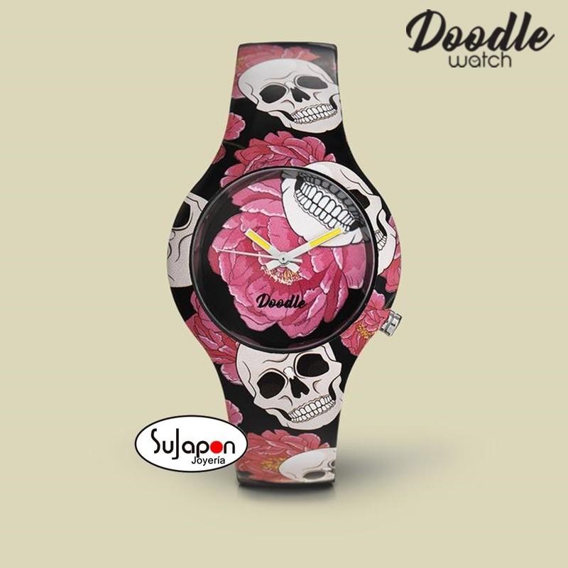 Reloj Doodle Flores y Calaveras