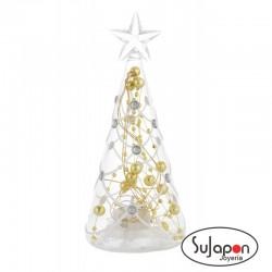 Árbol de Navidad de cristal con luz de 16 cm