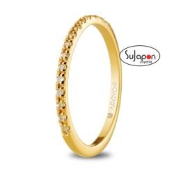 Anillo de oro amarillo con diamantes 0.15ct o circonitas