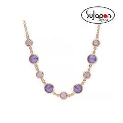 Gargantilla Liska plata chapado rosa y cristales Swarovski® violetas