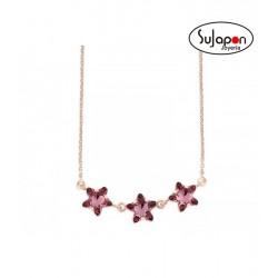 Gargantilla Liska plata chapado rosa y cristales Swarovski® 3 FLORES