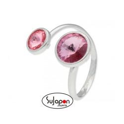 Sortija Liska en plata y cristales Swarovski® rosa y violeta