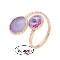 Sortija Liska en plata chapado rosa y cristales Swarovski® violetas