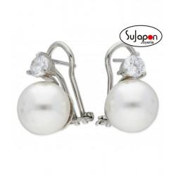 Pendientes plata TU Y YO perla y Swarovski® de LISKA JOYAS