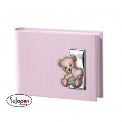 Album infantil con oso plata, azul o rosa