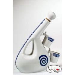 Juego de botella y dos chupitos porcelana Celta